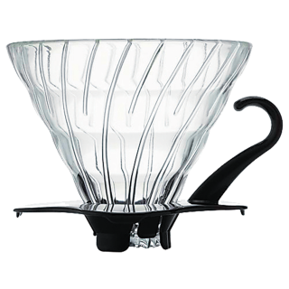 Hario V60 Two Cup Coffee Dripper Glass Black