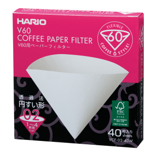 Hario 2 Cup Filter Paper White 1x40